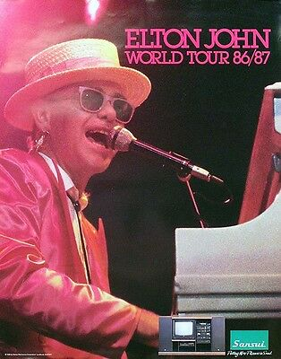 Elton John 1986 - 1987 World Tour Original Poster Original