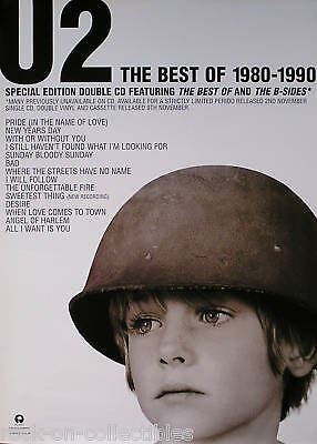 U2 1998 Best Of 1980-1990 U.k. Promo Poster Original