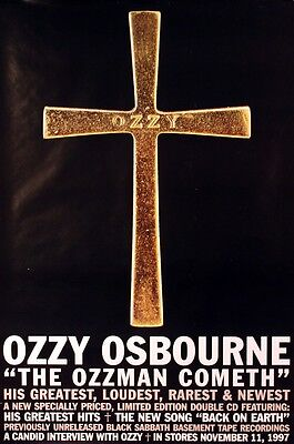 Ozzy Osbourne 1997 The Ozzman Cometh Cross Promo Poster Original