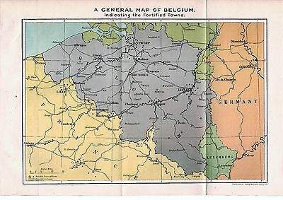 Antique Map 1920 Belgium The Great War