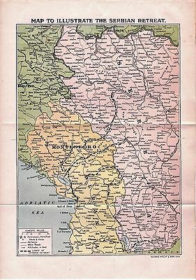 Antique Map1920  Illustrating the Serbian Retreat The Great War