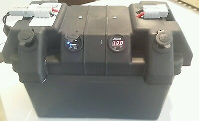 Battery box with merit style ,cig , usb sockets & voltmeter 4 x 4 camping truck