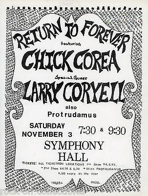 Return To Forever Original 1973 Concert Handbill Chick Corea Larry Coryell