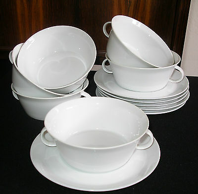 Vintage retro 60's Rosenthal 6 Soup Bowls + 6 saucers MADE IN GERMANY