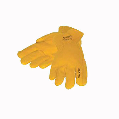 XTM Mens Leather Rigger Work Protection Gloves Yellow Size M - XL