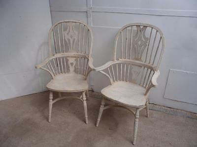 A Superbly Painted Pair of Shabby Chic Oak Fire Side / Windsor Back Armchairs