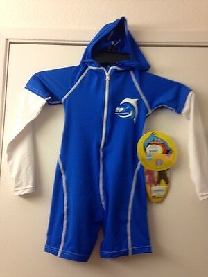 Child's Sun Protection One-Piece Suit With Hood and Long Sleeve Size 4 - NEW