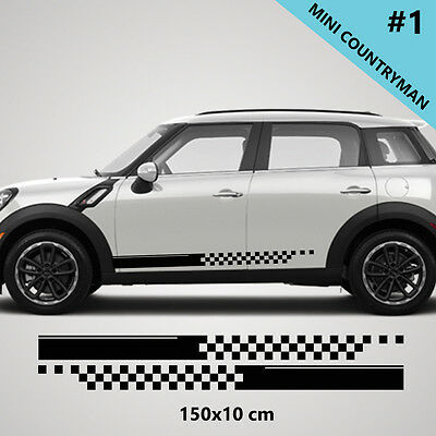 Fits Mini Cooper Countryman Side Racing Stripe Car Stickers Decals