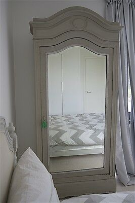 French Antique Painted Single Door Armoire
