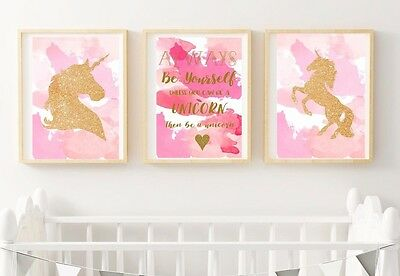 Set of 3 Gold Glitter Unicorn Print - Pink for Girls Bedroom Nursery Wall Art