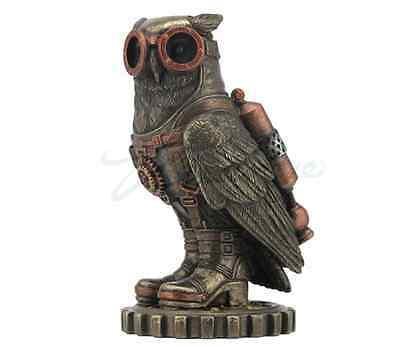 Steampunk Owl with Jetpack and Goggles Statue Sculpture on Gears Figurine