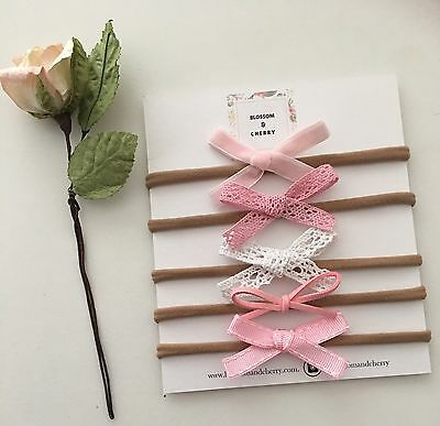 Set of 5 Baby Girl Hand Tied Bow Headbands - Baby Shower Gift