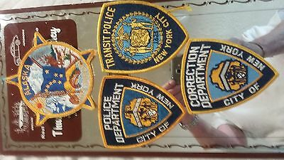 3 New York City Police Patches Police,Transit,Corrections&1Alaska state troopers