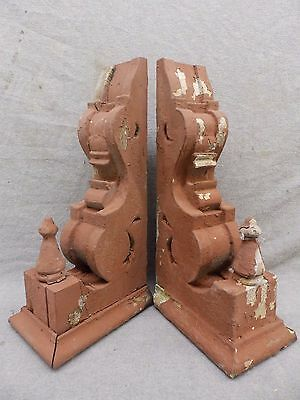 Antique Pair Wood Corbels Shabby Cottage Chic Vintage 488-17R