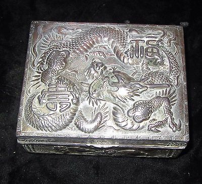 Vintage Japan Silver on Copper Wood Trinket Box Deep Repousse Dragon Characters