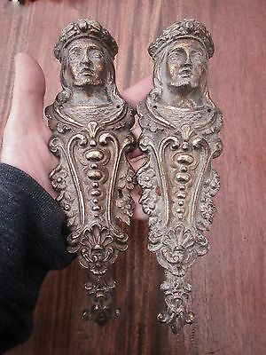 Large Pair of Antique 19th Century Brass Plaques - Rococo Style - Impressive