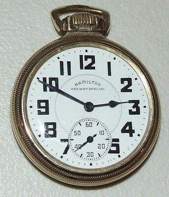 "Working 1941 HAMILTON ""Railway Special "" 21J R.R. Grade 992B Pocket Watch 10K GF"