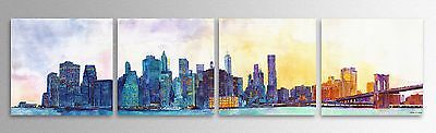 Big Modern Abstract NYC Skyline Brushed Metal Distressed Wall Decor Art New York