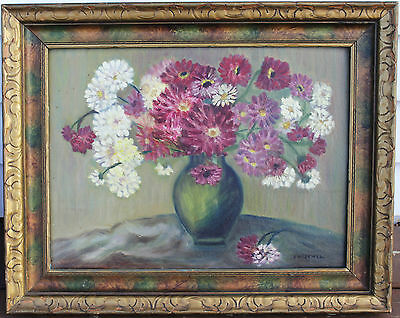 """Vintage Oil Painting On Board - Still Life Florals - Signed """"E. Miscwell"""""""