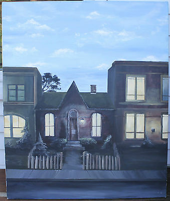 Large Vintage Oil On Canvas Painting - Lit Room House - Not Signed