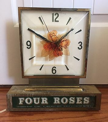 Vintage Four Roses Whiskey Display Lighted Bar Clock Sign