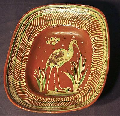 """1937 Mexican Bandera Redware Large 12""""x10 1/2"""" Bowl For Display Only"""