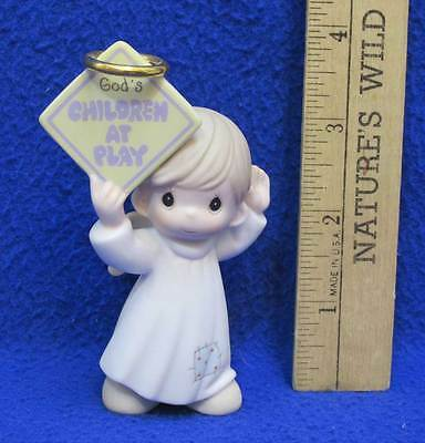 Precious Little Moments Figurine Gods Children At Play Angel Holding Sign