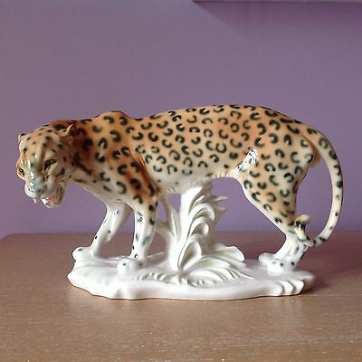 New Rare Karl Ens Germany Porcelain Leopard Wild Cat Sculpture Figurine
