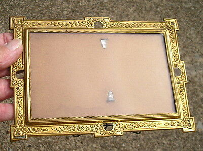 Beautiful Ornate Antique Victorian~Art Crafts Brass Picture Frame 3 1/2  x 5 1/2