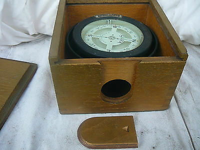 Silva Type 41 gimballed boat compass in original oak case OK 4WD
