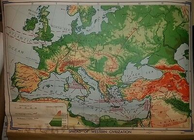 VINTAGE Pull Down School Map -  Beginnings and Spread of Western Civilization