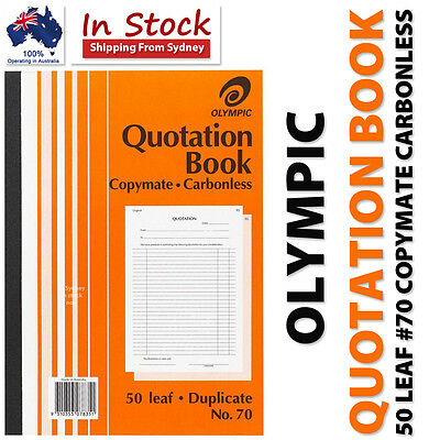 Olympic Quotation Book 50 Leaf #70 Duplicate Carbonless