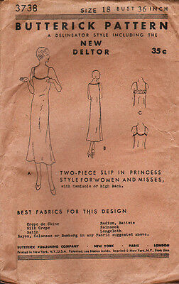UNUSED Antique 1920's BUTTERICK Sewing Pattern - PRINCESS SLIP - Bust 36 inches