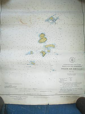 "Vintage 1943 Isles of Shoals Maritime Chart  NH & ME Islands - 19 3/4"" x 16 3/4"""