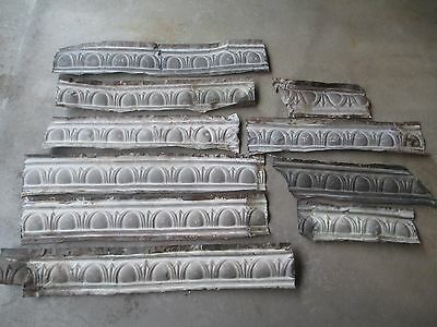 10 Pieces Old Tin Ceiling Cornice - 19'+ Total - Repurpose Accent Artist Lot