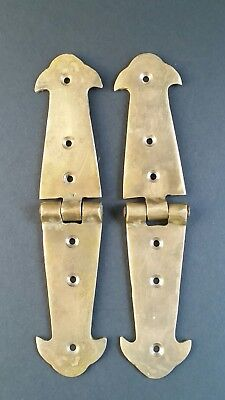"""Pair of Salvaged Antique Brass Door Rustic Hinges Old Trunk Box Lid Long 6"""" #X1"""
