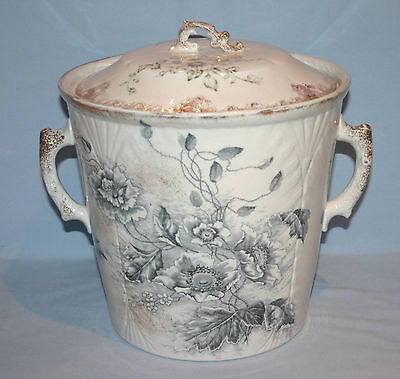 Master Antique Victorian Chamber Pot W/lid   Transferware   Imperial Semi-China