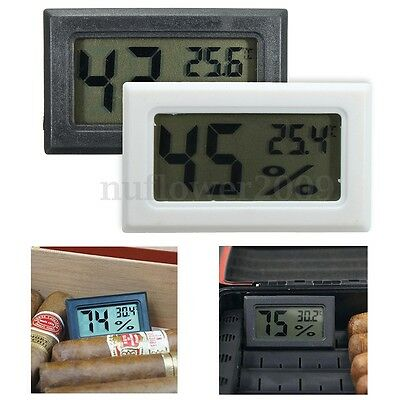 Digital LCD Cigar Hygrometer Thermometer Temperature Humidity Monitor Meter US