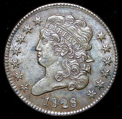 1828 Half Cent, Classic Head Choice, Early Copper, Great Condition,  13 Star