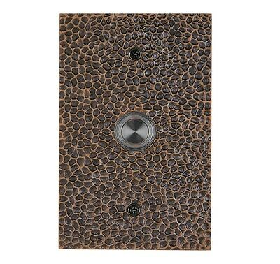 New Durable Solid Brass Large Hammered Plate Doorbell in Oil Rubbed Bronze