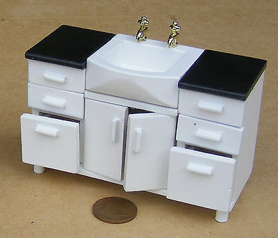 1:12 Scale White Painted Sink Unit Tumdee Dolls House Kitchen Accessory DF525