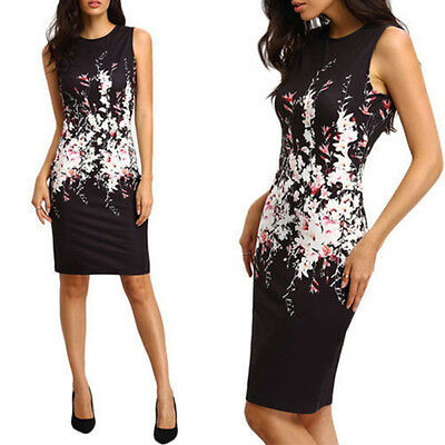 Summer Womens Sleeveless Ladies Floral Evening Party Bodycon Pencil Short Dress