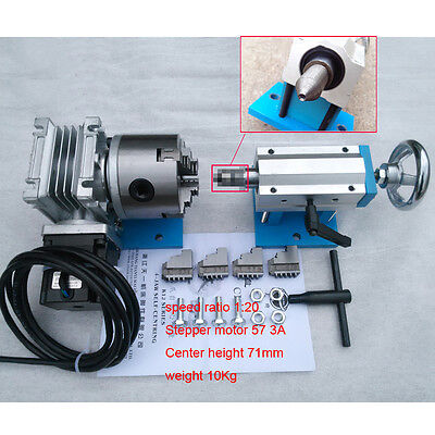 4Jawe Lathe Chuck 80mm Rotary 4th Axis CNC Dividing Head + Tailstock 57 Motor