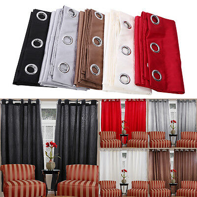Thermal Window Curtains Ready Made Eyelet Ring Top Fully Lined Home fresh Style