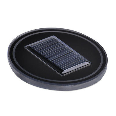 2pcs Car Solar Energy Cup Holder Bottom Pad Mat Blue LED Light Cover Trim Decor