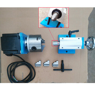 Tailstock Dividing Head CNC Rotary 4th Axis 3Jaw 80mm Chuck for Wood Router