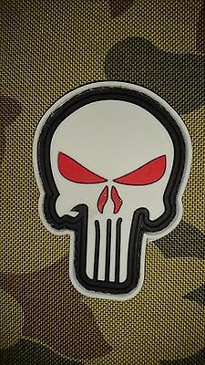 New Punisher Red Eyes Glow Tactical Morale Pvc Hook Loop Patch Australian Seller