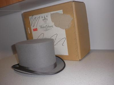 "VINTAGE GREY TOP HAT 7.3/8  by ""HERBERT JOHNSON"" And Original Box"