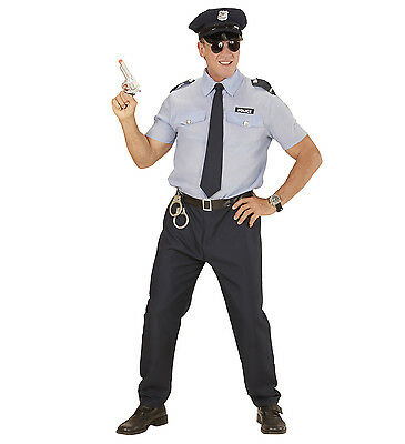 Policeman Costume Police Cop Fancy Dress Shirt Trousers Hat Tie Man Male Adult