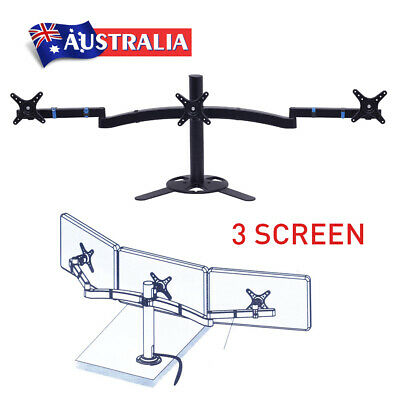 "10""-27"" 3 Arm Monitor VESA Display Screen Stand Adjustable Desktop Mount Bracket"